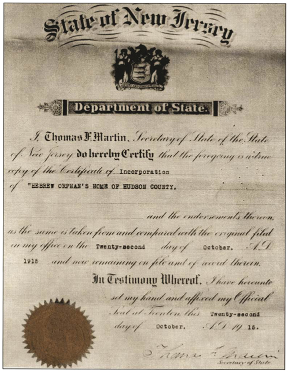 New Jersey certified the incorporation of the Hebrew Orphan's Home of New Jersey in 1916.