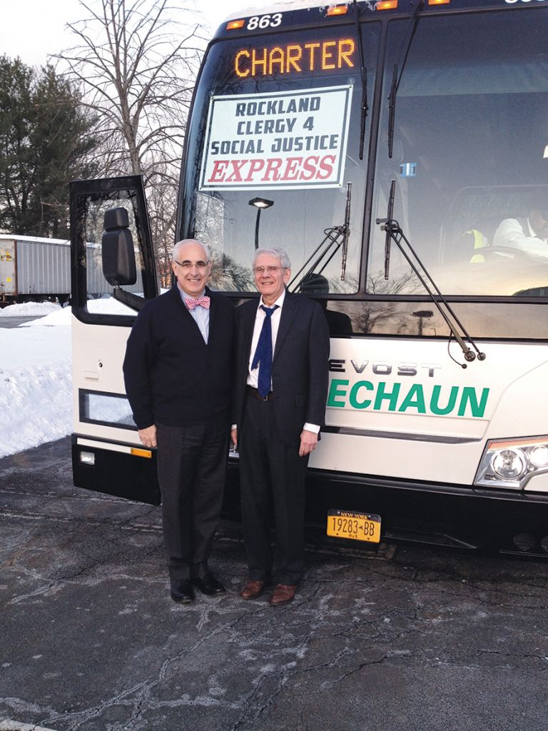 Dr. Oscar Cohen, right, and community activist Paul Adler on their way to Albany to lobby. (Rabbi Paula Mack Drill)