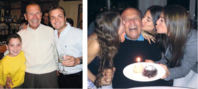 The always-smiling Eddie Epstein with two grandsons, Jacob Epstein and Brett Epstein, and celebrating his 90th birthday with three granddaughters, Erika Epstein, Amanda Godfrey, and Jessie Rudin.