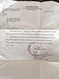 The War Department sent a letter announcing Mr. Epstein's Purple Heart.