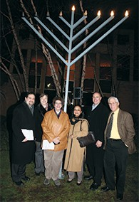 At Temple Sinai's interfaith menorah lighting in 2010, Rabbi Jordan Millstein, the Rev. Lynne Bleich Weber of the Church of the Atonement, the Rev. Dr. Eileen W. Lindner of the Presbyterian Church at Tenafly, Shaheen S. Ahmed (representing the Muslim community), Howard Simon, past president of Temple Sinai, who donated the menorah, and Tenafly's Mayor Peter Rustin.