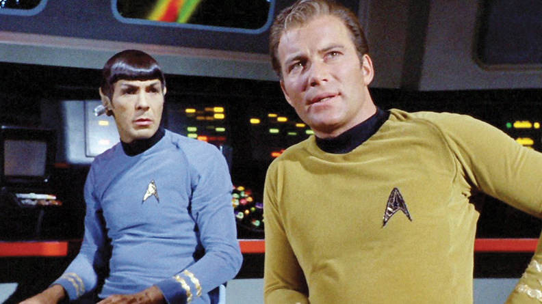 Leonard Nimoy and William Shatner in their iconic roles as Mr. Spock and Captain Kirk.