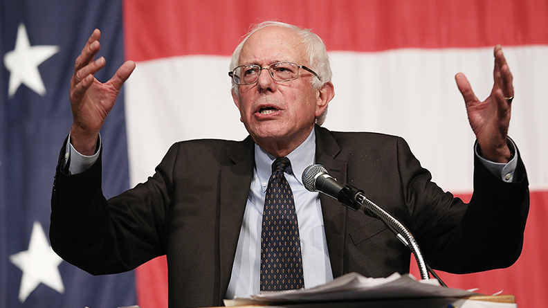 Senator Bernie Sanders (I-Vt.) speaks at the Iowa Democratic Wing Ding in Clear Lake on August 14. (Win McNamee/Getty Images)