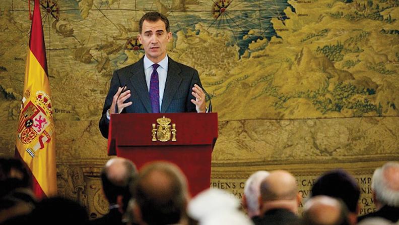King Felipe VI of Spain speaks during a ceremony on granting Spanish citizenship to Sephardic Jews at the Royal Palace in Madrid on November 30. (Juan Naharro Gimenez/Getty Images)