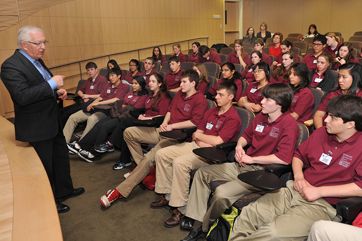 Dr. Alex Zapolanski talks with students at the Ridgewood Academy for Health Professionals.