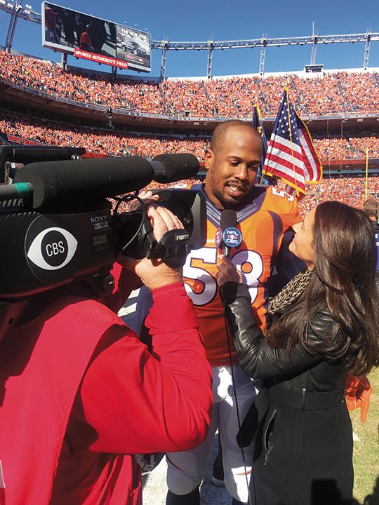 Interviewing Super Bowl MVP Von Miller. Courtesy CBS SPORTS