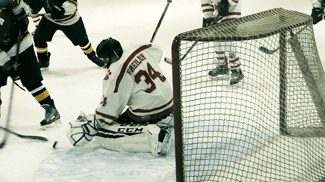 Charlie Frielich guards the goal.