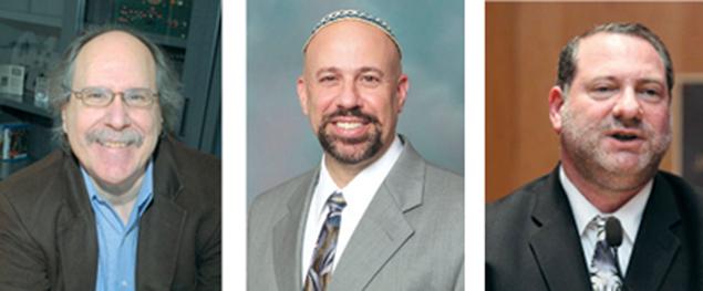 Dr. Paul Levinson, left, Rabbi Barry Schwartz, and Dr. Lance Strate.
