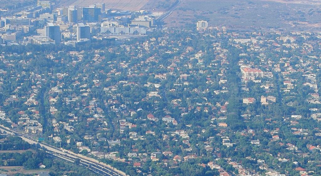 Aerial view of the coastal city of Herzliya Pituach, July 21, 2010. (Moshe Shai/FLASH90)