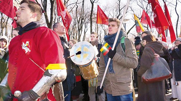 Lithuanian ultranationalists march in Kaunas on February 16, 2015. (Cnaan Liphshiz)