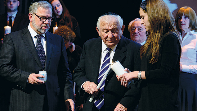 Ronnie Stern with his father, Holocaust survivor Chaim Stern, and daughter, Rebecca Stern Rauch.