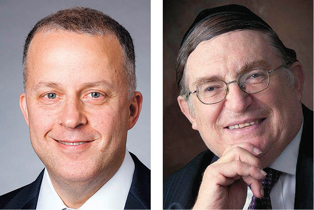 Bryan Alter, left, Rabbi Paysach Krohn