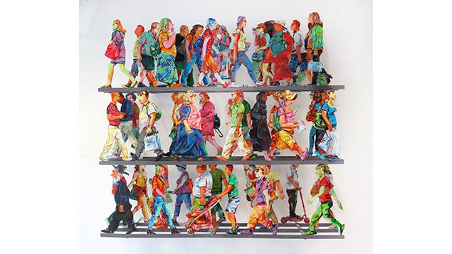 "David Gerstein's ""Fifth Avenue"" wall sculpture, 2016."