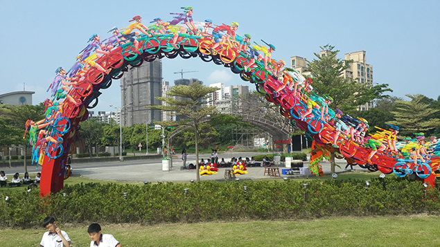 """""""Peloton Wave,"""" done in 2014, is installed outside an athletic stadium in Sinchu, South Korea. (David Gerstein)"""