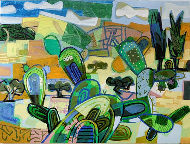 David Gerstein's drawing of cacti in Israel's Elah Valley.