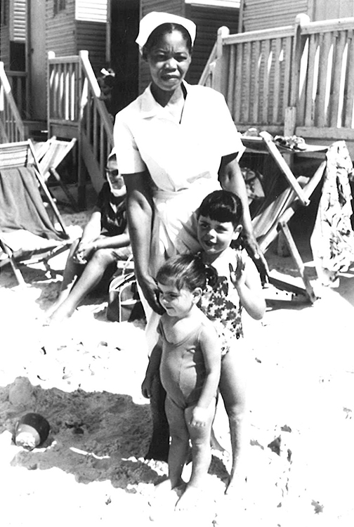 Andi, her sister Elyse, and their nanny, Mary, on vacation.