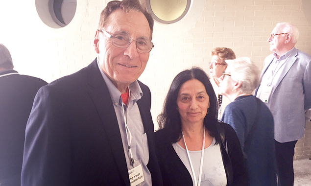 Dr. Leonard Cole stands with Orit Noked, a former Israeli MK and minister  of agriculture.