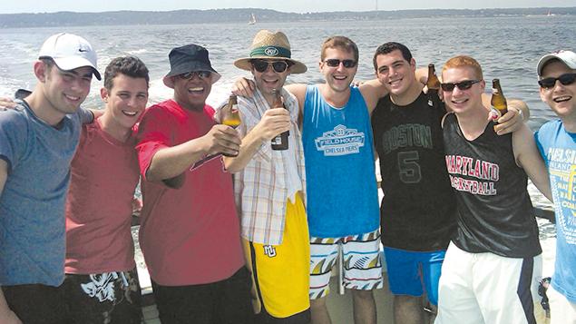 Asher and his friends went fishing. From left, Daniel Boiarsky, Eli Sipzner, Tye Bird, Isaac Strulowitz, Asher Strobel, Joseph Cohen, Matthew Greif, and Ethan Potasnick.