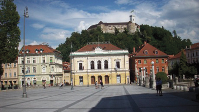 Parts of the center of Ljubljana, the capital of Slovenia, have been closed to traffic; they attract pedestrian visitors.