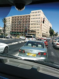 The intersection outside the Prima Kings Hotel, where we stayed for Shabbat. (Steve Leichman)
