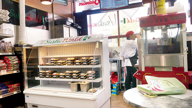This kosher supermarket in Manchester includes a sushi corner. (Cnaan Liphshiz)