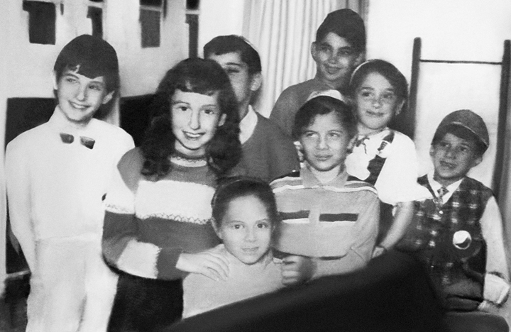 The Yiddish-speaking Enge Benge club meets on Chanukah 1967.