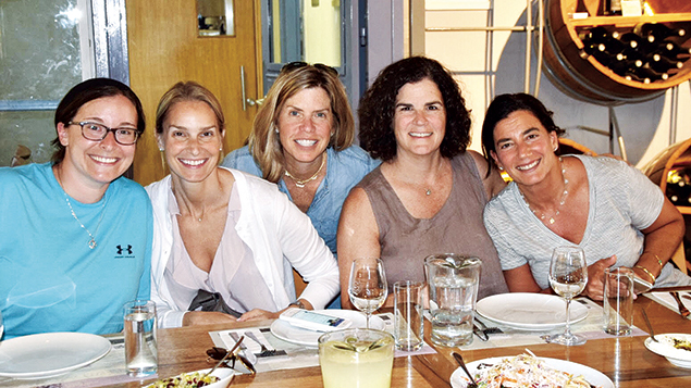 Elana Stein Hain, left, the director of leadership education at the Shalom Hartman Institute North America and a faculty member for the Berrie Fellowship, with Berrie Fellows Andi Wolfer, Donna Weintraub, Fran Weingast, and Deena Seelenfreund at the Gush Etzion winery.