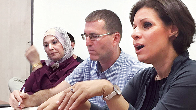 Speaking at a Shalom Hartman Institute project for Jewish and Arab principals on coexistence and mutual understanding are, from left, Andera Biadse, principal of the Baka Al Garbia High School, Dani Elazar, director of the institute's Be'eri Program, and Dr. Dalia Fadila, president of Al Qasemi Engineering and Science College in the Haifa region.