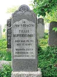 The headstone of 17-year-old Tilli Kupferschmid, who died in the fire.