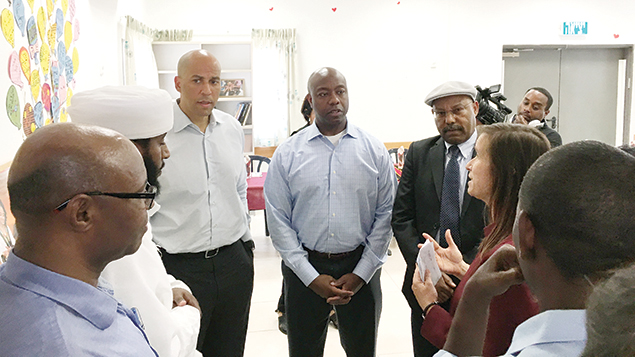 U.S. Senators Cory Booker (D-N.J.) and Tim Scott (R-S.C.) meet with members of the Ethiopian Jewish Community at a youth outreach center to learn about ongoing projects to assist the community during a recent trip to Israel.