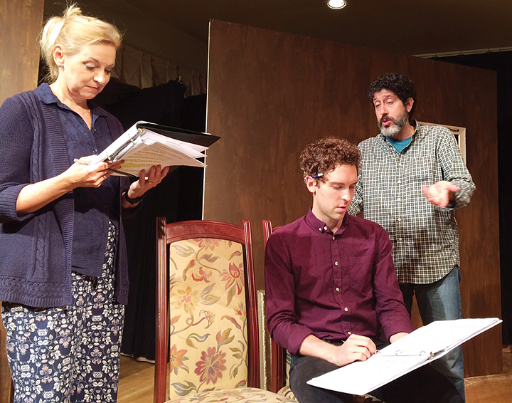 The play's three actors, Valerie Stack Dodge, Nathan Gardner, and Mark J. Quiles, read through the script. (James Janoff)