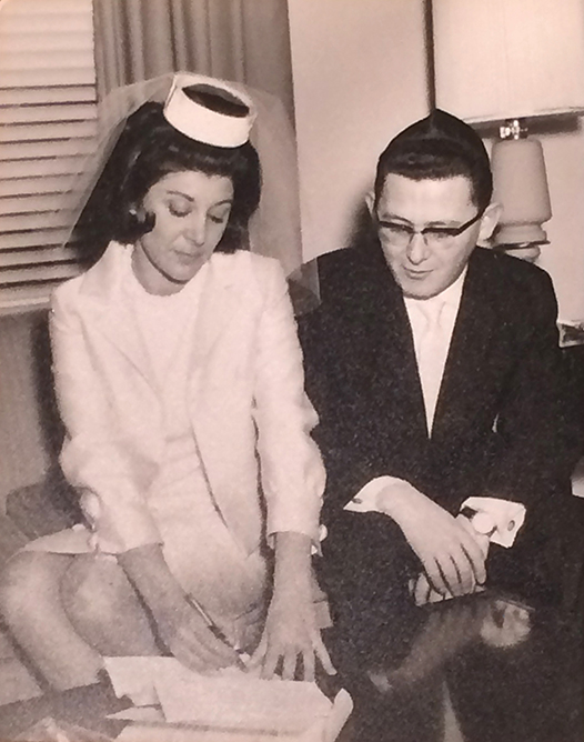 Rita and Andre Friedman signing their ketubah in 1964, and today.