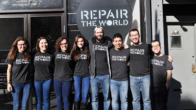2016 Repair the World Fellows in front of their Crown Heights headquarters. (Repair the World)