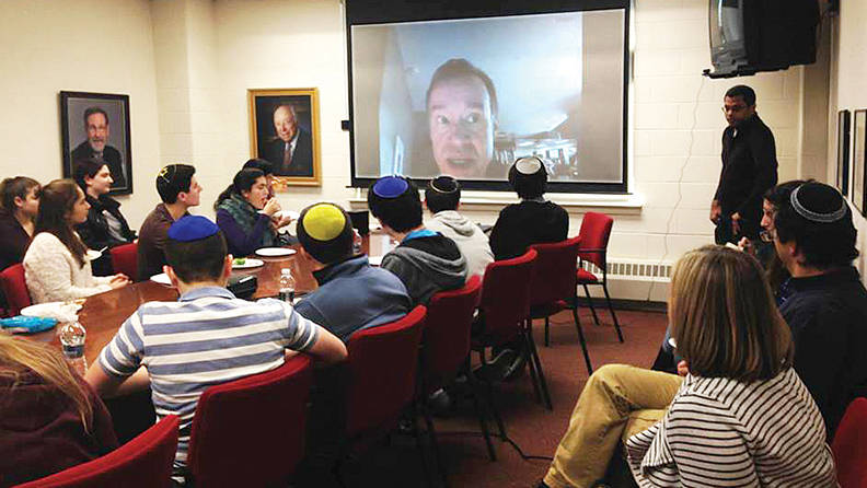 At a Culture Club lunch-and-learn, students and faculty members Skyped with New York Times theater critic Ben Brantley. (Courtesy Ariel Abergele)