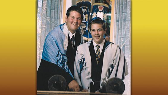 Geoff, left, and Mitch Schwartz at synagogue, years ago. (John Solano)
