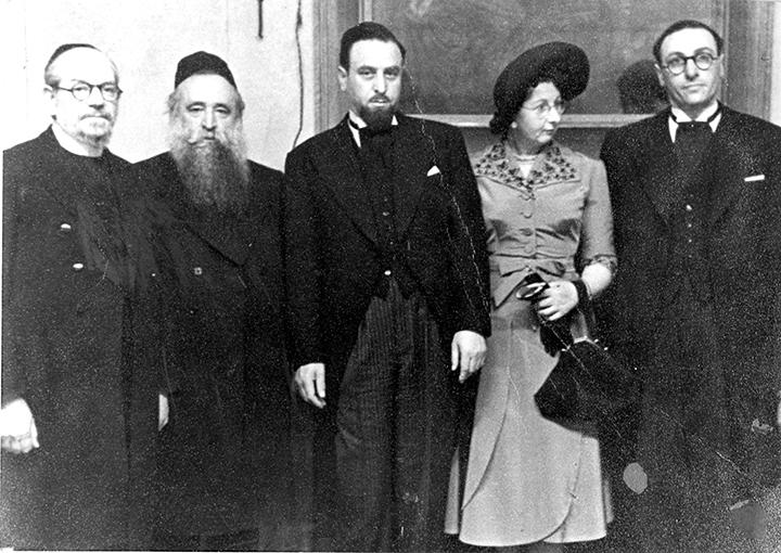 From left, scholar and Swift relative Rabbi Shlomo Fisch, scholar Rabbi Yechezkel Abramsky, and three Swifts, Harris, Bessie, and Isaac.