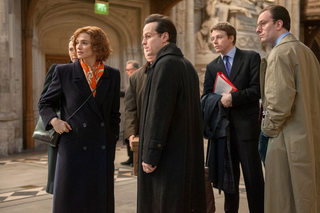 From left to right, Rachel Weisz (Deborah Lipstadt), Andrew Scott (Anthony Julius), Jack Lowden (James Libson) and Pip Carter (Anthony Forbes-Watson). (Liam Daniel/ Bleecker Street)