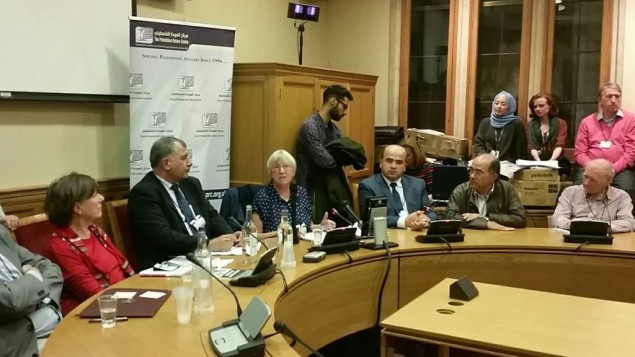 The panel event in parliament, held by the Palestine Return Centre