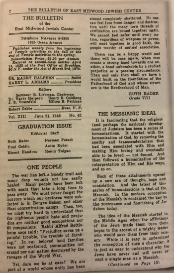 """An essay written by a 13-year-old Ruth Bader Ginsburg in the East Midwood Jewish Center's bulletin (""""My Own Words"""")"""