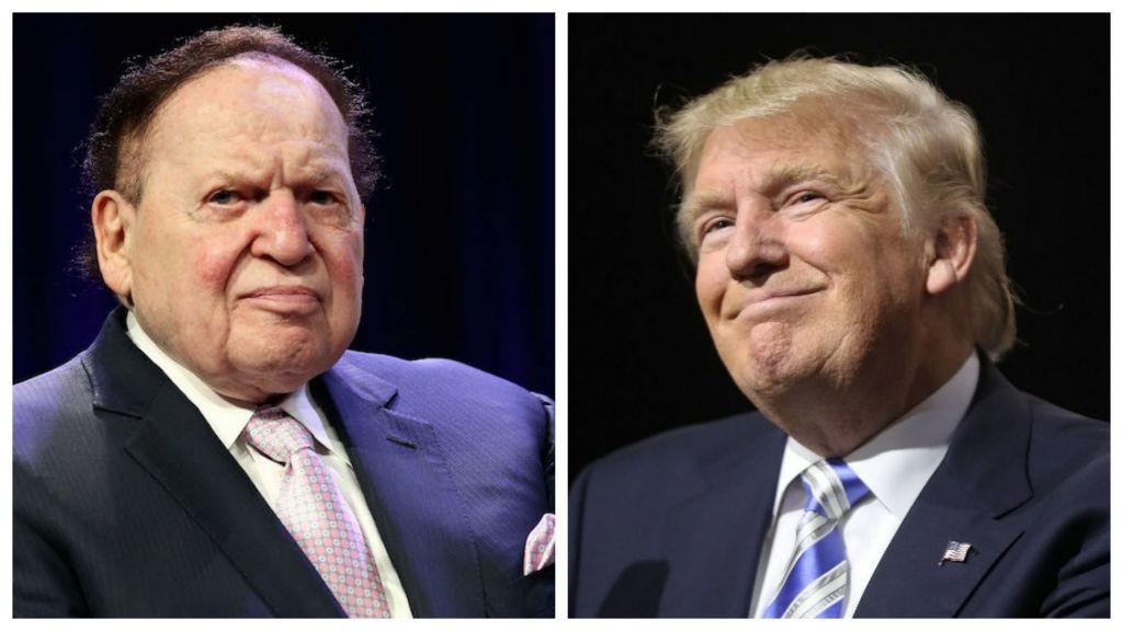 Casino magnate Sheldon G. Adelson, left, (Steve Mack/Getty Images, via JTA) and US President Donald Trump, right. (Spencer Platt/Getty Images/AFP)