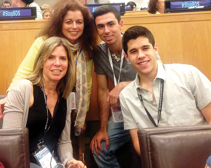 Martha Cohen and her son, Harry, above, and Donna Weintraub and her son Cory went to learn how to counter BDS at a UN conference last year.