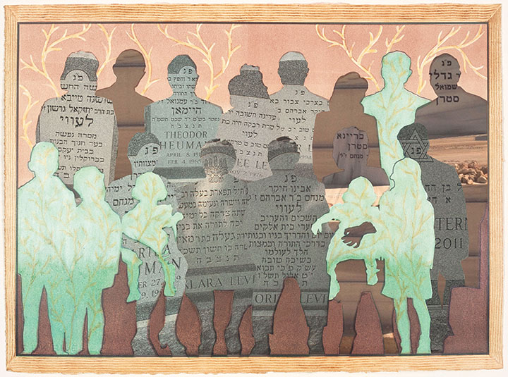 """""""Mishpacha VI, 2014."""" This family portrait shows still-living members in green; relatives who have died are represented with lettering from their tombstones. The two figures in brown are in unreachable graves."""