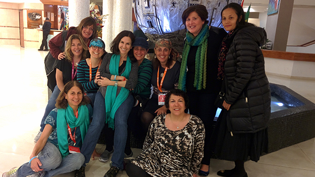 Some Bergen County travelers; in the back row, Debbie Rosalimsky, Robin Baer, Julie Farkas, Michelle Gliksman, Phyllis Krug, Dena Weiss Levie, Jodi Heimler, and Rosa Rojas. In the front row, Susan Flanzman and Alyson Cohn. (Abigail Klein Leichman)