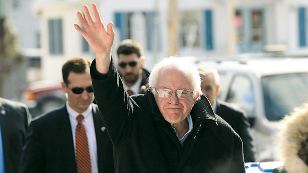 Senator Bernie Sanders waves in Concord on February 9, the day of the primary elections in New Hampshire. (Spencer Platt/Getty Images)
