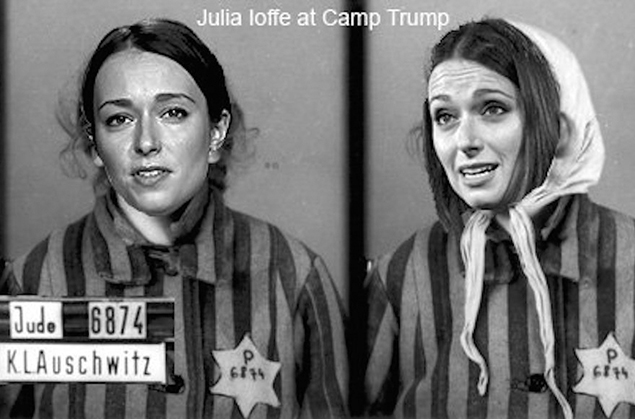 Jewish journalist Julia Ioffe received neo-Nazi death threats from Donald Trump supporters, including an image depicting her as a concentration camp inmate, after she wrote a profile of Melania Trump in GQ. (Screenshot from Twitter)