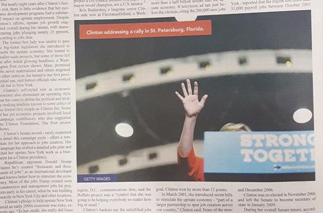 The Monsey-based newspaper Yated Neeman published a picture of Hillary Clinton taken at a Florida campaign rally, though only a small part of her body is visible. (Onlysimchas.org)