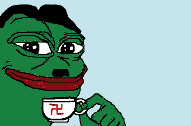 "Pepe the Frog, an internet meme, has become a symbol of the alt-right, a loose confederation of white nationalists, nativists, anti-Semites and critics of ""political correctness."" (Screenshot from Twitter)"