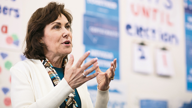 Jacky Rosen speaks to campaign volunteers at the Nevada Democrats' field office in southwest Las Vegas. (Bill Clark/CQ Roll Call/Getty Images)