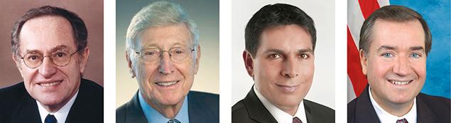 Professor Alan Dershowitz, left, Bernie Marcus, Ambassador Danny Danon, and Congressman  Ed Royce