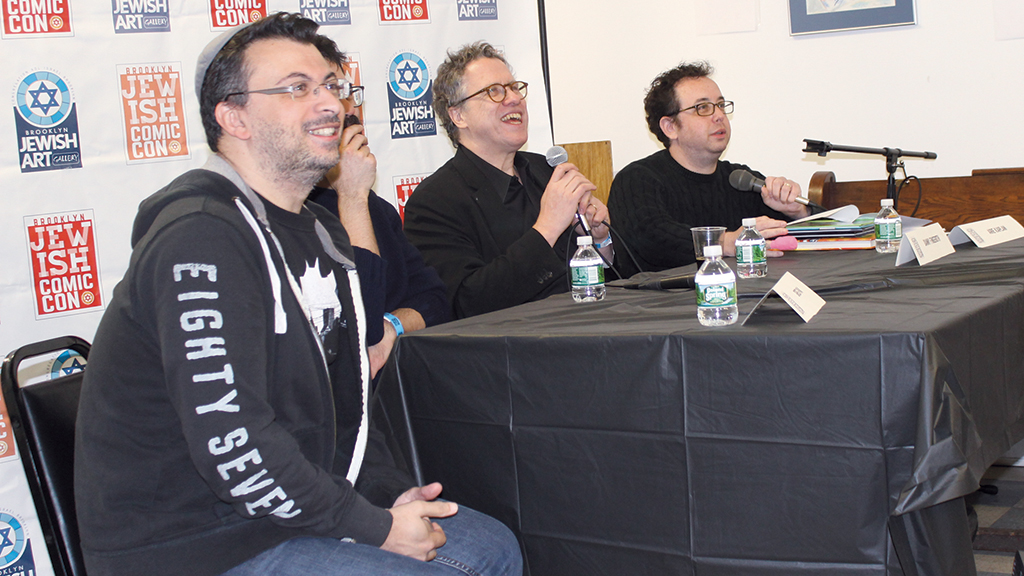 """Panelists talk about """"Jewish Heroes and Villains"""" at the Jewish Comic Con."""